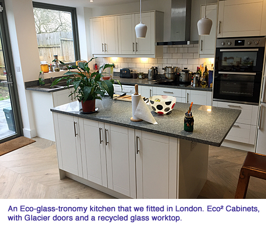 milestone An Eco-glass-tronomy kitchen that we fitted in London. Eco² Cabinets with Glacier doors and a recycled glass worktop copy
