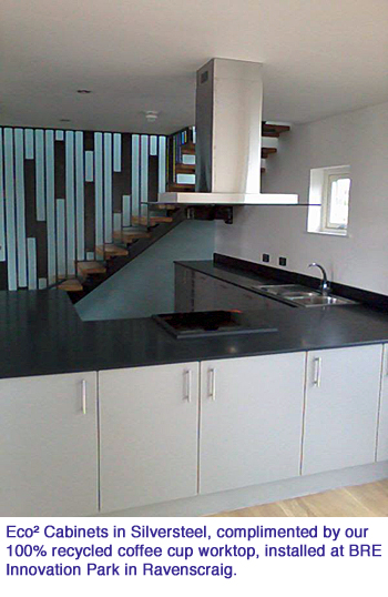 milestone Eco² Cabinets in Silversteel complimented by our 100 recycled coffee cup worktop installed at BRE Innovation Park in Ravenscraig copy