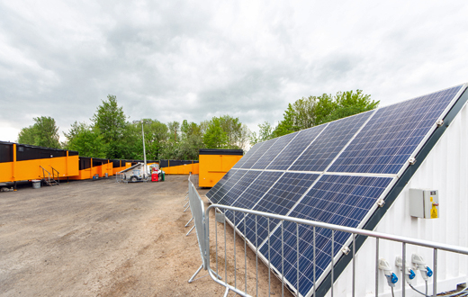 prolectric Solartainer solar generators and solar tower lights supported near diesel-free operation over the 14-day set up and core works