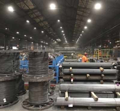 Welsh steel makers rent energy efficient lighting