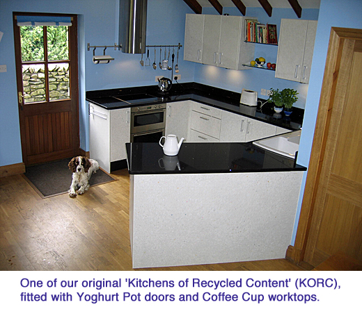 milestone One of our original Kitchens of Recycled Content KORC fitted with Yoghurt Pot doors and Coffee Cup worktops copy